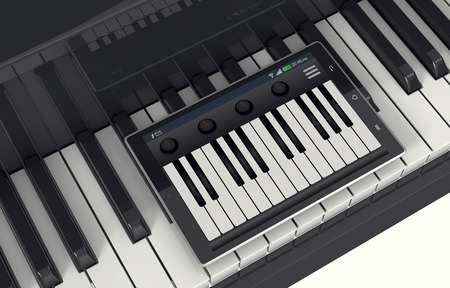 piano closeup: closeup view of a piano with a tablet pc and a music app, concept of music and technology (3d render)