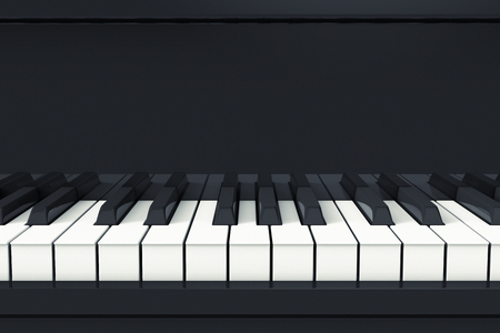 front view of a piano keyboard (3d render)