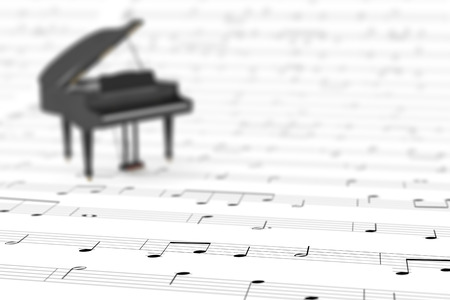 musical score: sheet music with a small piano (3d render)
