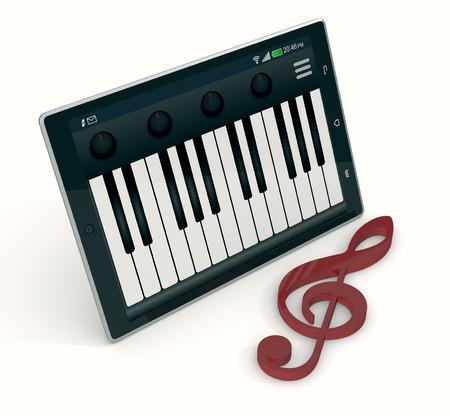 chiave di violino: uno tablet pc con una applicazione pianoforte e chiave di violino su sfondo bianco, il concetto di musica e tecnologia (rendering 3d)