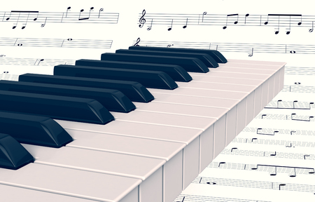 musical score: closeup view of a piano keyboard with music sheet on background (3d render) Stock Photo
