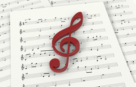 musical score: sheets music with a violin key (3d render)