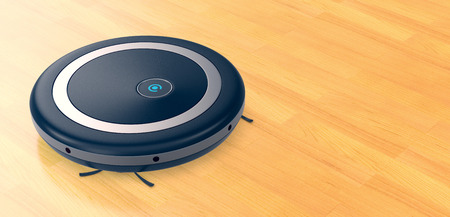 one vacuum cleaner robot on a wooden floor, empty space at the right (3d render)