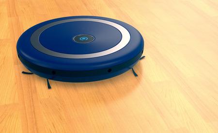 wireless tool: one vacuum cleaner robot on a wooden floor (3d render)