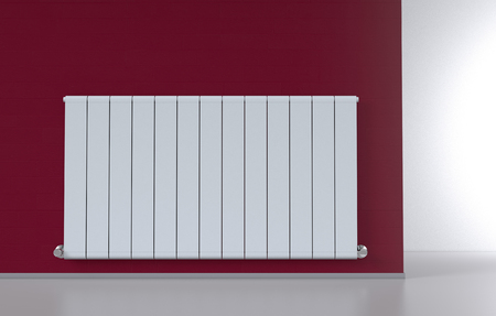 domestic room: room with a modern radiator on a red wall (3d render)