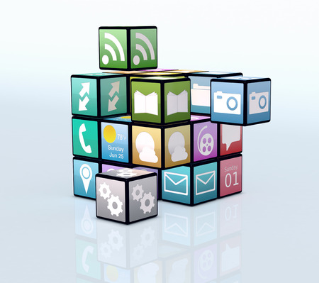 mobile app: mobile app icons making a cube (3d render) Stock Photo