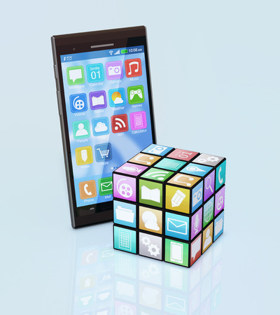 mobile app: one cube made with mobile app icons with a mobile phone (3d render) Stock Photo
