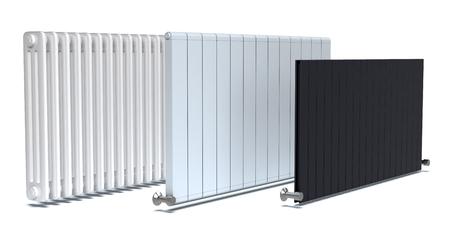set di tre radiatori su sfondo bianco (rendering 3d)