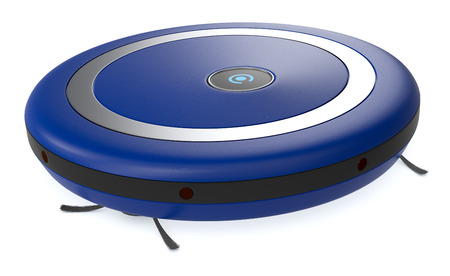 vacuum cleaner: close up view of a blue vacuum cleaner robot (3d render) Stock Photo