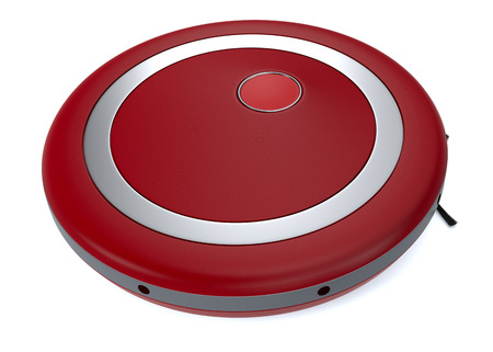 vacuum cleaner: close up view of a red vacuum cleaner robot (3d render)
