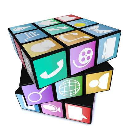 conceptual: one cube made with mobile app icons, white background (3d render)