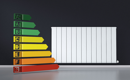 ecological: room with a modern radiator on a dark wall and an energy efficiency diagram (3d render)