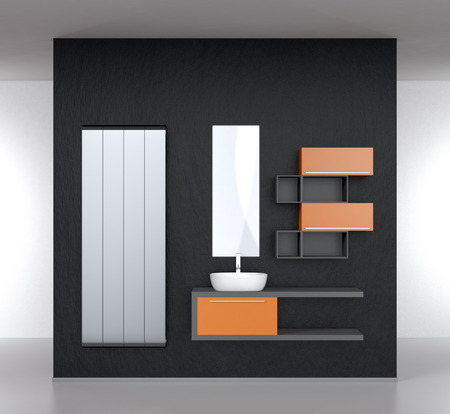 double sink: modern bathroom furnishings with a radiator on a dark wall (3d render)