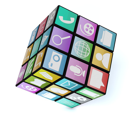 mobile app: one cube made with mobile app icons, white background (3d render)