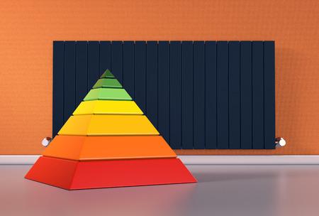 Zimmer mit einem modernen Heizkörper auf einem orangefarbenen Wand und einem Diagramm der Energieeffizienz (3d render) Standard-Bild - 55292056