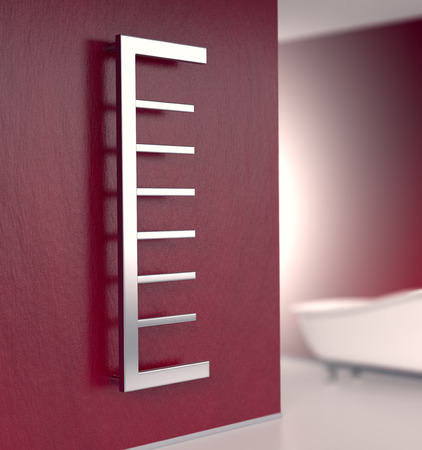 bathroom design: bathroom with a modern radiator on a red wall (3d render)