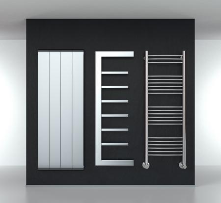 tre moderni radiatori su un muro scuro (rendering 3d)