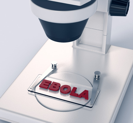slide glass: closeup view of a microscope with a glass slide and text: ebola, concept of scientific research (3d render)