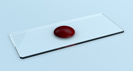 slide glass: closeup view of a glass slide with a drop of blood, concept of scientific research (3d render)