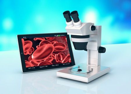 scientific research: electronic microscope with a tablet pc, concept of scientific research and new technologies (3d render)