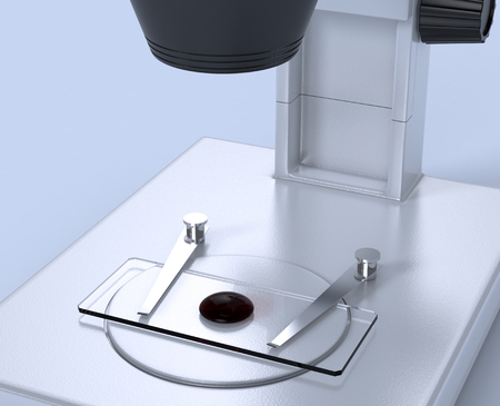 slide glass: closeup view of a microscope with a glass slide and a drop of blood (3d render)