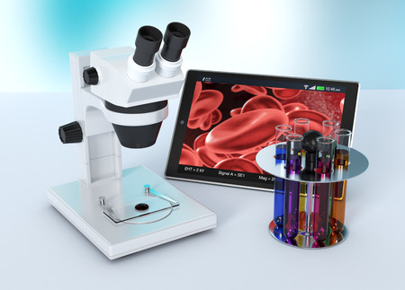 new technologies: electronic microscope with a tablet pc, concept of scientific research and new technologies (3d render)