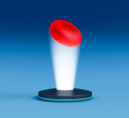 holographic: hologram of a red blood cell, concept of futuristic technologies for scientific research (3d render)