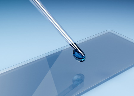 slide glass: closeup view of glass slide with a pipette, concept of scientific research (3d render)