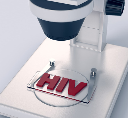 scientific research: closeup view of a microscope with a glass slide and text: hiv, concept of scientific research (3d render)