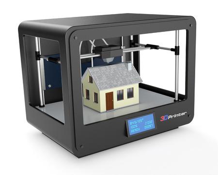 professionelle 3D-Drucker, der ein Haus, weißer Hintergrund baut (3d render) Standard-Bild