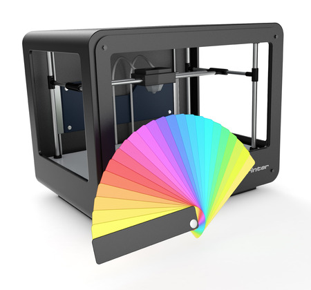 sampler: professional 3d printer with a color sampler (3d render)