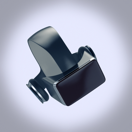 headset: virtual reality headset on grey background (3d render)