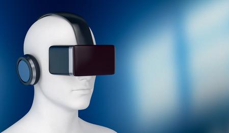 audifonos: 3d de un hombre con un casco de realidad virtual, el espacio vacío a la derecha (3d)