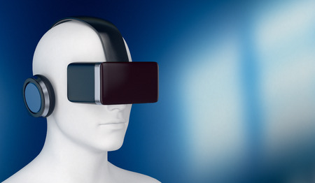 headphone: one 3d man with a virtual reality headset, empty space at the right (3d render)