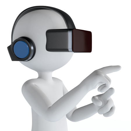3d puppet: one 3d puppet with a virtual reality headset, white background (3d render)