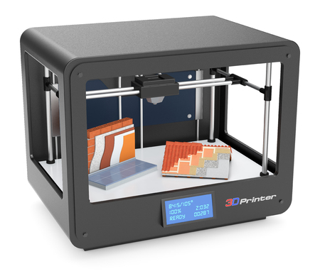 rapid prototyping: professional 3d printer with a wall and a roof, concept of building (3d render) Stock Photo