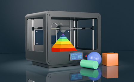 professional 3d printer on dark background, with coloured objects (3d render) Stock Photo