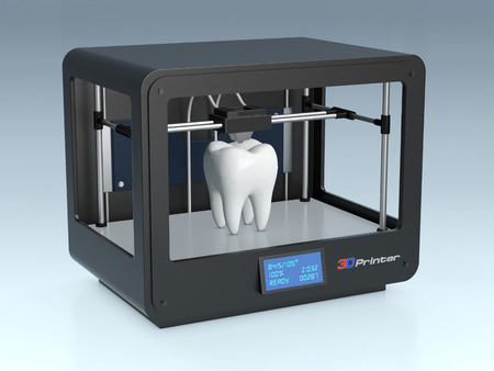 professional 3d printer that builds a tooth, concept of 3d printing and medicine (3d render)