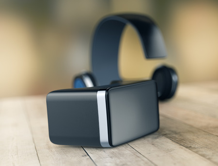 simulation: virtual reality headset on a wooden surface (3d render) Stock Photo