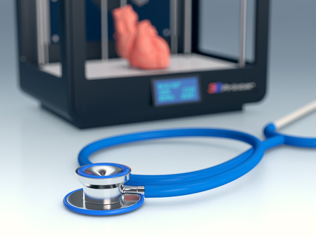 close up view of a stethoscope with a 3d printer on background, concept of 3d printing and medicine (3d render)