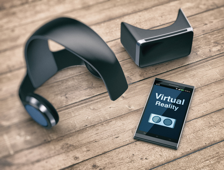 mobile headset: virtual reality headset with a mobile phone on a wooden background (3d render) Stock Photo