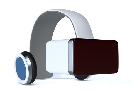 headset: virtual reality headset on white background (3d render)