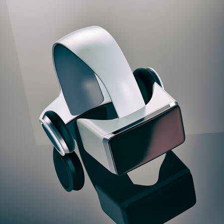 simulations: virtual reality headset on a reflecting surface (3d render) Stock Photo