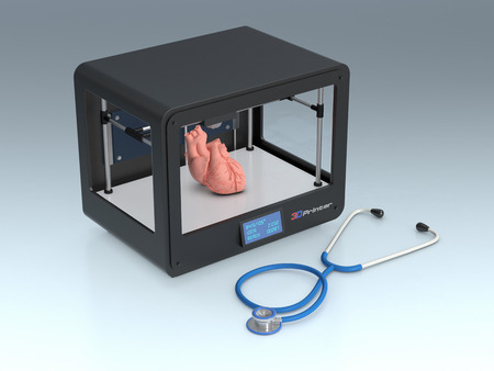 professional 3d printer that builds an heart, and a stethoscope, concept of 3d printing and medicine (3d render) Stock Photo