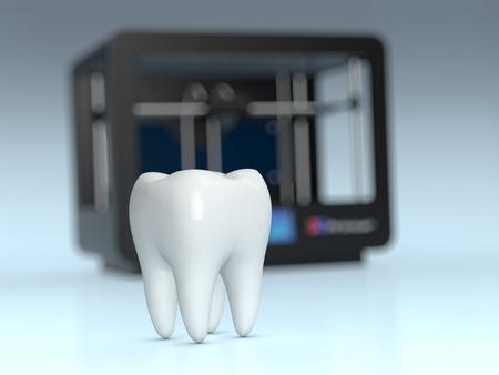 imprenta: Cierre de vista de un diente con una impresora 3D en el fondo, el concepto de la impresión 3D y la medicina (3d)