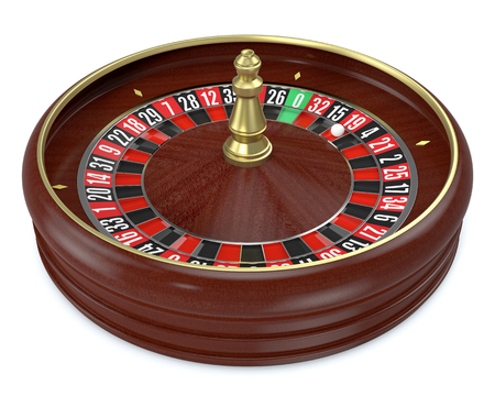 luck wheel: roulette wheel on white background (3d render)