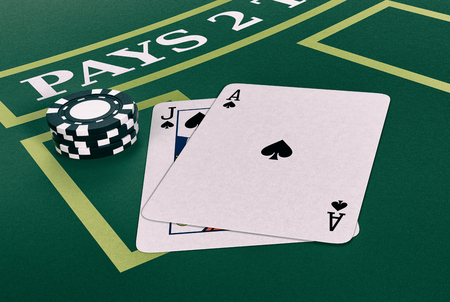 blackjack: close up view of a blackjack table with cards and fiches (3d render) Stock Photo