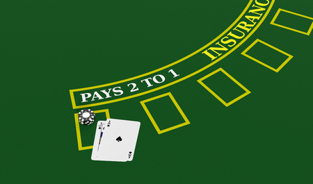 top view of a blackjack table with cards and fiches (3d render)