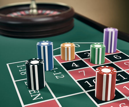 roulette table: close up view of a roulette table with fiches (3d render)