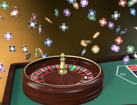 roulette table: roulette table with falling fiches (3d render)